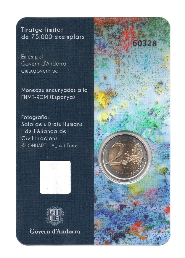 (EUR24.ComBU&BE.2018.200.BU.COM2.60328) 2 euro Andorra 2018 BU - Declaration of Human Rights Back (zoom)
