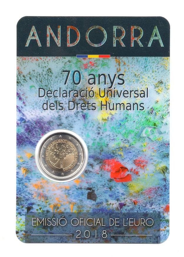(EUR24.ComBU&BE.2018.200.BU.COM2.60328) 2 euro Andorra 2018 BU - Declaration of Human Rights Front (zoom)