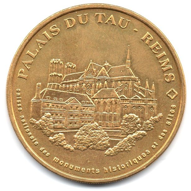 (FMED.Méd.tourist.2004.CuAlNi16.-1.sup.000000001) Tourism token - Palace of Tau Obverse (zoom)
