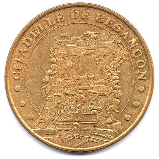 (FMED.Méd.tourist.2004.CuAlNi3.-1.2.sup.000000001) Tourism token - Besançon's Citadel Obverse (zoom)