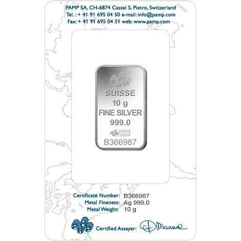 (LIN.PAMP.10.ag.AG00RI005S101) Silver bar 10 grams PAMP - Fortuna (certified blister) Back (zoom)