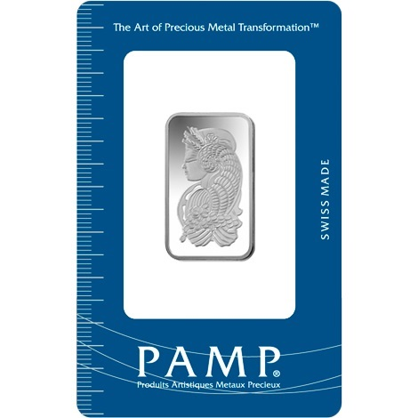 (LIN.PAMP.10.ag.AG00RI005S101) Silver bar 10 grams PAMP - Fortuna (certified blister) Front (zoom)