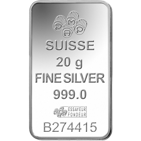 (LIN.PAMP.20.ag.AG00RI006S101) Silver bar 20 grams PAMP - Fortuna Front (zoom)