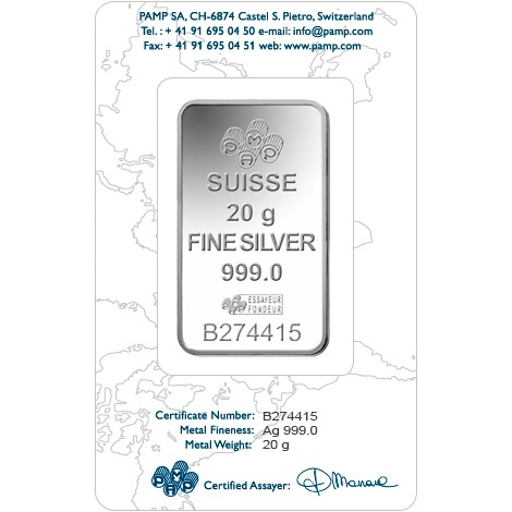 (LIN.PAMP.20.ag.AG00RI006S101) Silver bar 20 grams PAMP - Fortuna (certified blister) Back (zoom)