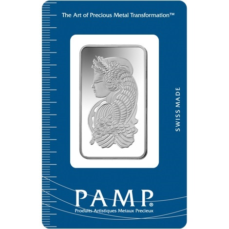 (LIN.PAMP.20.ag.AG00RI006S101) Silver bar 20 grams PAMP - Fortuna (certified blister) Front (zoom)