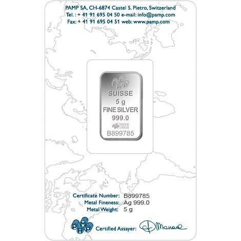 (LIN.PAMP.5.ag.AG00RI004S101) Silver bar 5 grams PAMP - Fortuna (certified blister) Back (zoom)