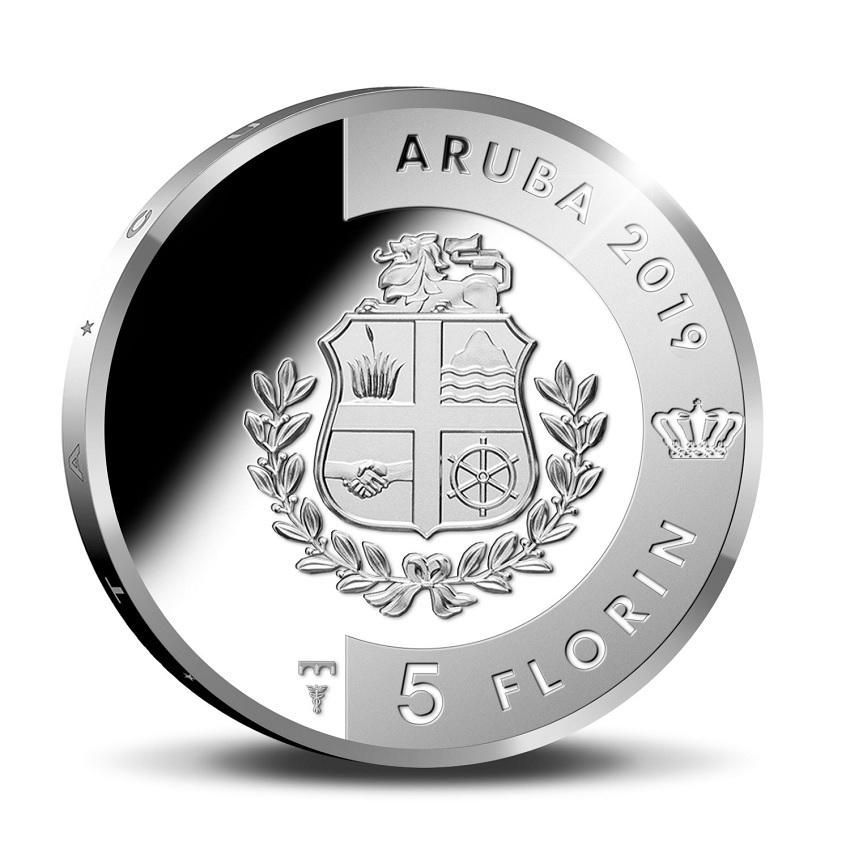 (W016.500.2019.BU&BE.COM1) 5 Florin Turtle 2019 - Proof silver Obverse (zoom)