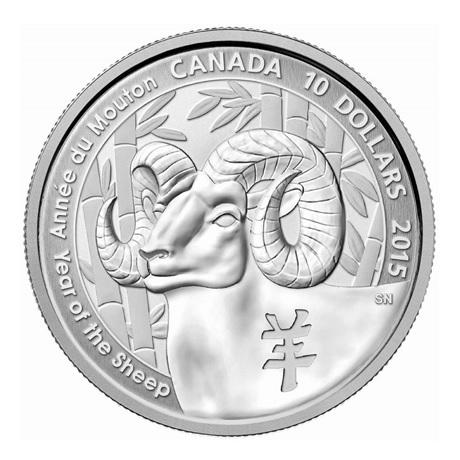 (W037.1000.2015.BU&BE.COM1) 10 Dollars Année du Mouton 2015 - Argent BE Revers