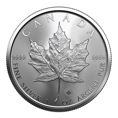 (W037.500.2020.1.ag.bullco.1) 5 Dollars Canada 2020 1 once argent - Feuille d'érable Revers