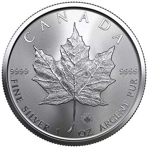 (W037.500.2020.1.ag.bullco.1) 5 Dollars Canada 2020 1 oz silver - Maple leaf Reverse (zoom)