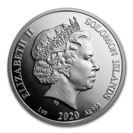 (W106.314.2020.1.ag.BU.bullco.1) 3,14 Dollars Iles Salomon 2020 1 once argent BU - Pi Avers