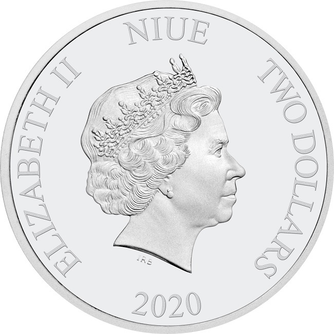 (W160.200.2020.1.ag.bullco.30-00891) 2 dollars Niue 2020 1 oz Proof silver - Hogwarts Express Obverse (zoom)