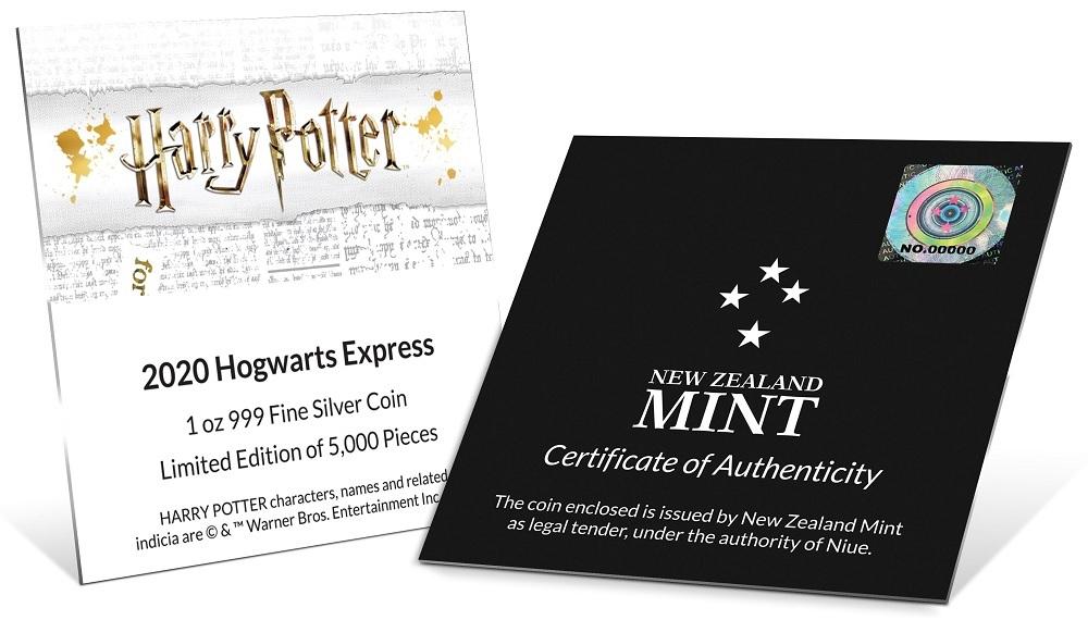 (W160.200.2020.1.ag.bullco.30-00891) 2 dollars Niue 2020 1 oz Proof silver - Hogwarts Express (certificate) (zoom)