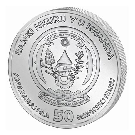 (W188.5000.2020.1.ag.bullco.1) 50 Francs Rwanda 2020 1 once argent - Année du Rat Avers