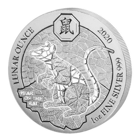 (W188.5000.2020.1.ag.bullco.1) 50 Francs Rwanda 2020 1 once argent - Année du Rat Revers