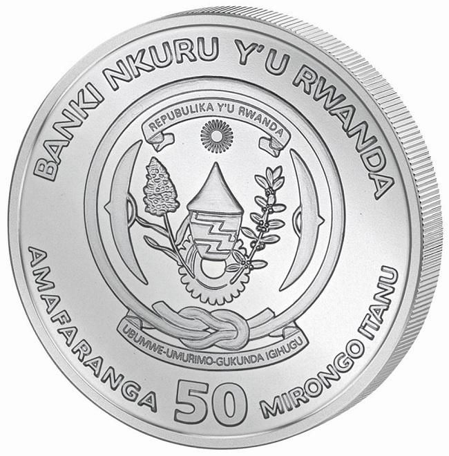 (W188.5000.2020.1.ag.bullco.1) 50 Francs Rwanda 2020 1 oz silver - Year of the Rat Obverse (zoom)