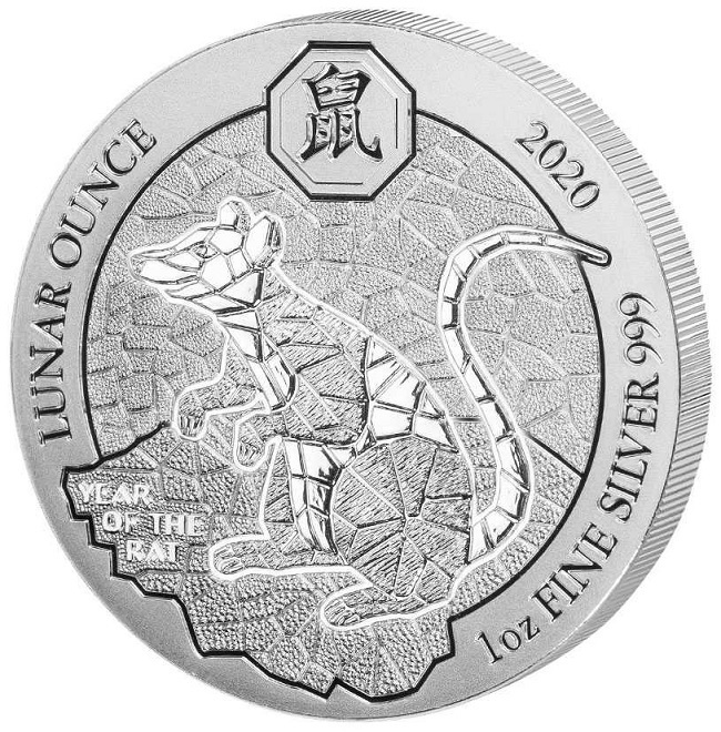 (W188.5000.2020.1.ag.bullco.1) 50 Francs Rwanda 2020 1 oz silver - Year of the Rat Reverse (zoom)