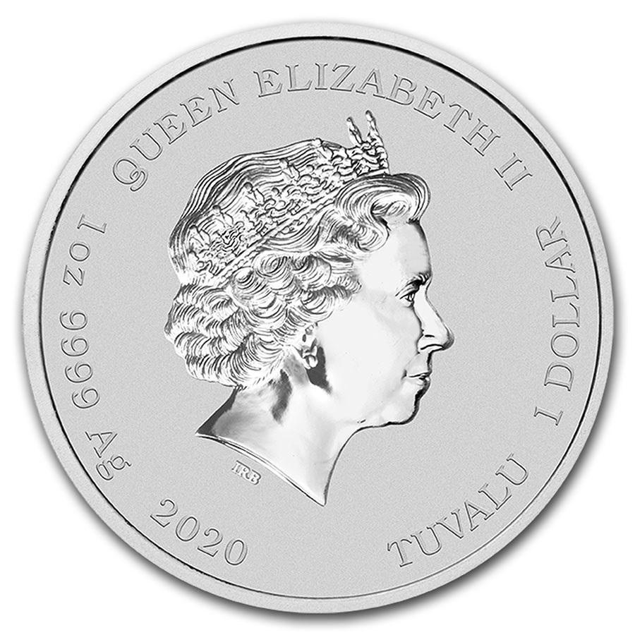 (W228.1.100.2020.1.ag.bullco.1) 1 Dollar Tuvalu 2020 1 oz BU silver - Krusty the Clown Obverse (zoom)