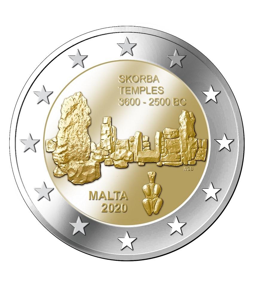 2 euro Malta 2020 - Skorba temples (zoom)