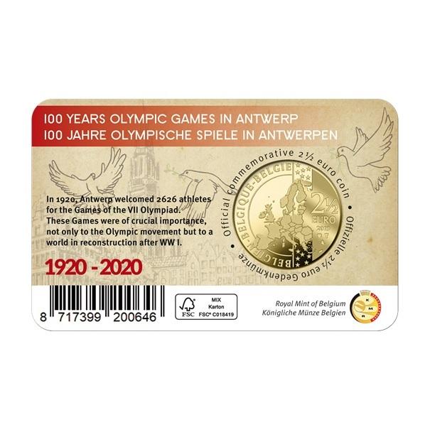 (EUR02.ComBU&BE.2020.250.BU.COM1) 2.5 euro Belgium 2020 BU - Antwerp Olympic Games Back (zoom)