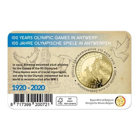 (EUR02.ComBU&BE.2020.250.BU.COM1.1) 2,5 euro Belgique 2020 BU - Jeux Olympiques Anvers (colorisée) Verso