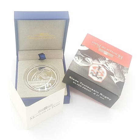(EUR07.ComBU&BE.2010.10041263510000) 10 euro France 2010 argent BE - Stade Toulousain (packaging)