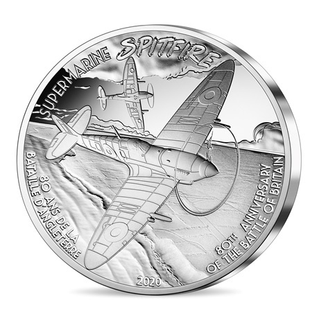(EUR07.ComBU&BE.2020.5000.BE.10041344260000) 50 euro France 2020 argent BE - Supermarine Spitfire Revers