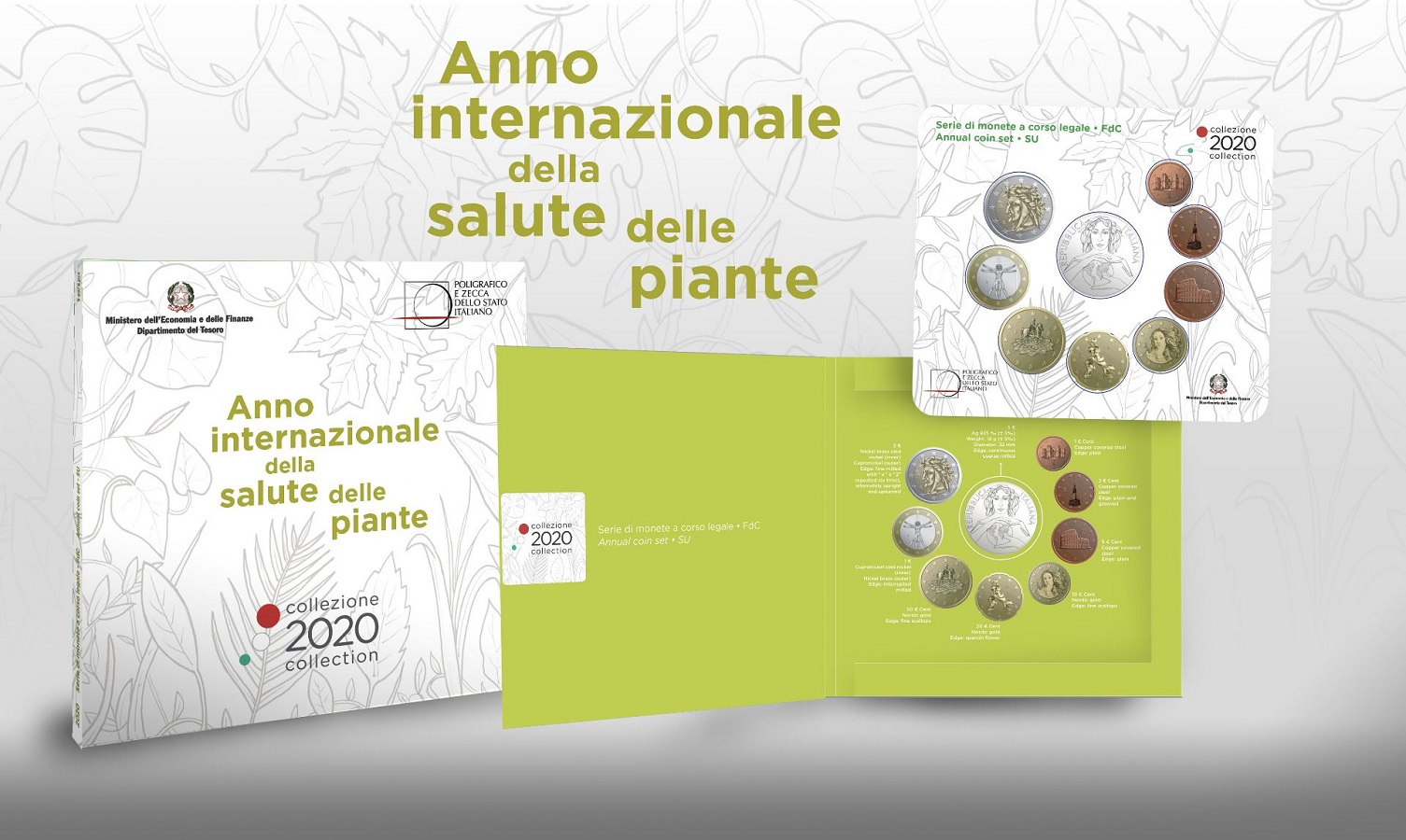 (EUR10.CofBU&FDC.2020.48-2MS10-20F011) BU coin set Italy 2020 (International Year of plant health) (zoom)