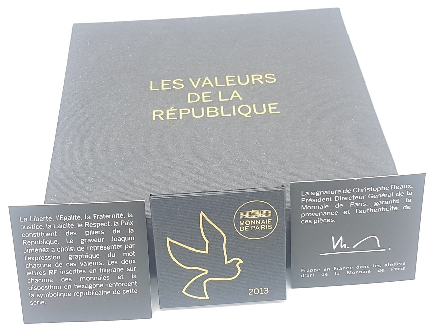 (EUR07.CofBU&FDC.2013.Cof-BU&UNC) Coffret France 2013 - Values of the Republic (certificate) (zoom)