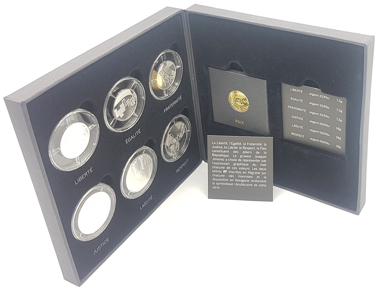 (EUR07.CofBU&FDC.2013.Cof-BU&UNC) Coffret France 2013 - Values of the Republic (inside) (zoom)