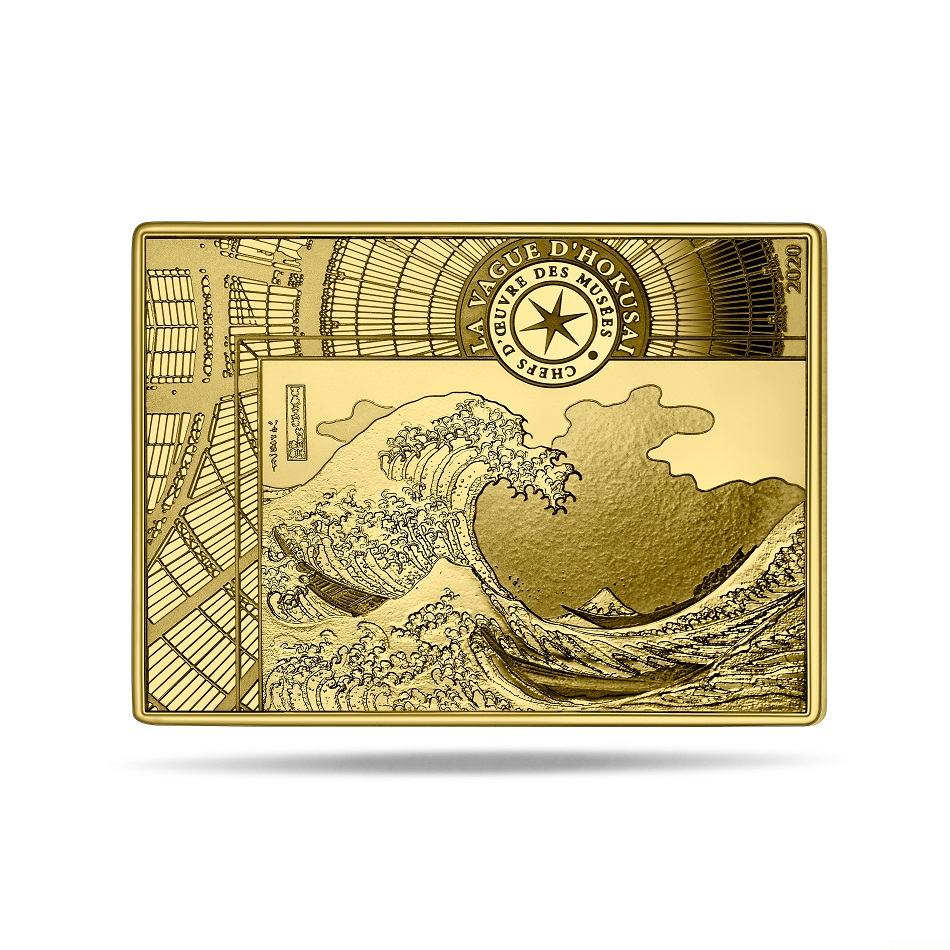 (EUR07.ComBU&BE.2020.10041343680000) 50 euro France 2020 Proof Au - The Great Wave Reverse (zoom)