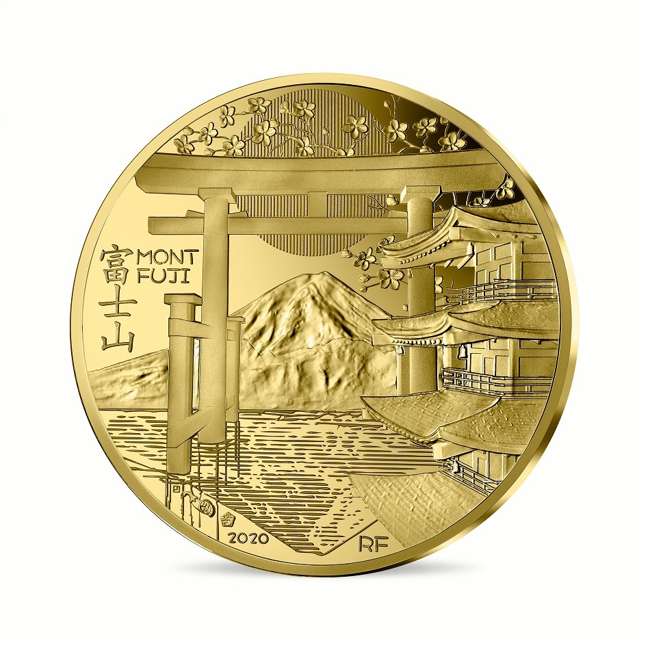 (EUR07.ComBU&BE.2020.10041344080000) 200 euro France 2020 Proof gold - Mount Fuji Obverse (zoom)