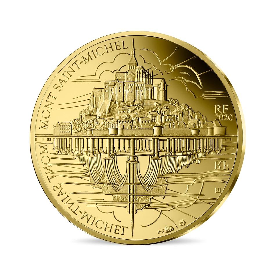 (EUR07.ComBU&BE.2020.10041344110000) 50 euro France 2020 Proof Au - St Michael's Mount Obverse (zoom)