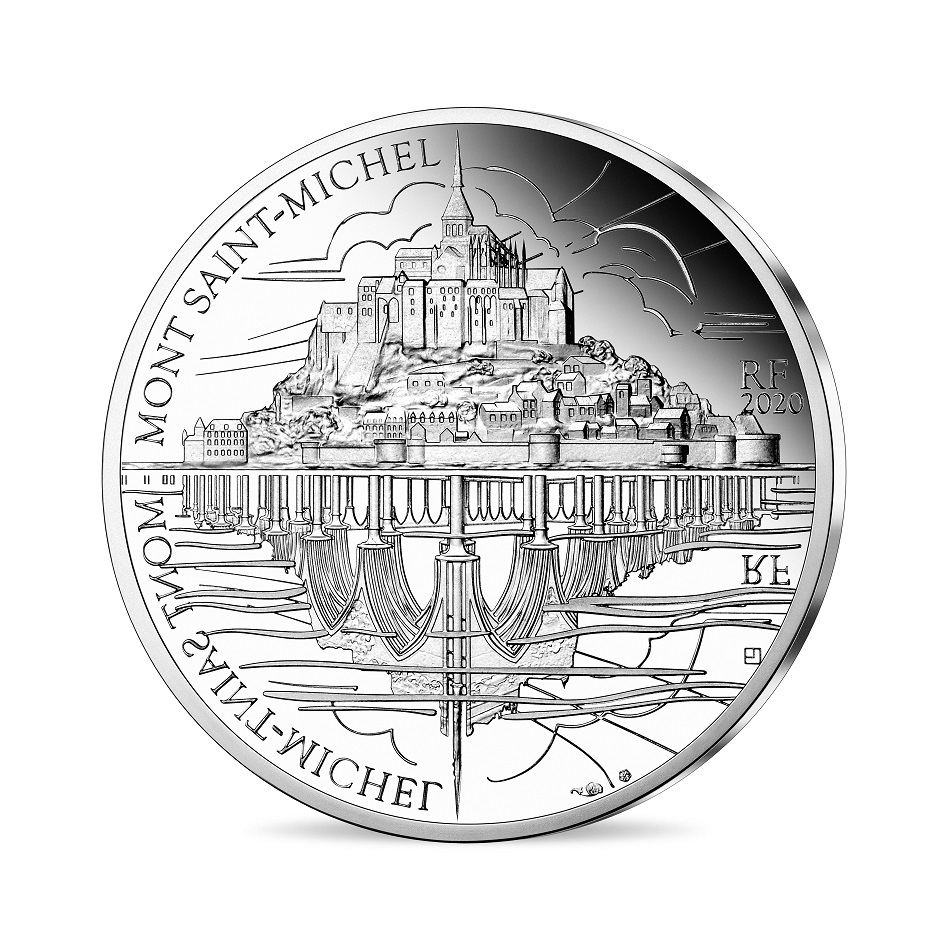 (EUR07.ComBU&BE.2020.10041344120000) 10 euro France 2020 Proof Ag - St Michael's Mount Obverse (zoom)