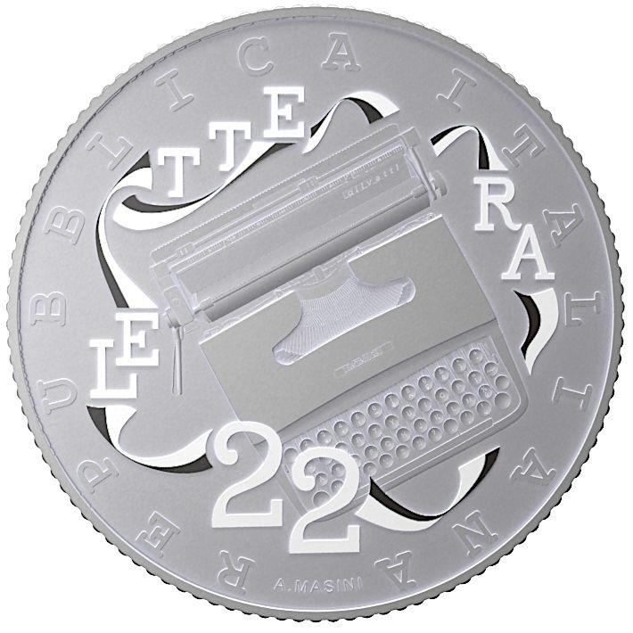 (EUR10.ComBU&BE.2020.48-2MS10-20F003) 5 euro Italy 2020 Ag BU - Olivetti Lettera 22 (white) Obverse (zoom)