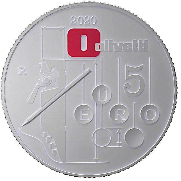 (EUR10.ComBU&BE.2020.48-2MS10-20F003) 5 euro Italy 2020 Ag BU - Olivetti Lettera 22 (white) Reverse (zoom)