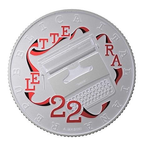 (EUR10.ComBU&BE.2020.48-2MS10-20F004) 5 euro Italie 2020 argent BU - Olivetti Lettera 22 (rouge) Avers