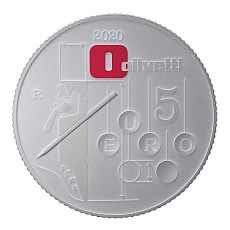 (EUR10.ComBU&BE.2020.48-2MS10-20F004) 5 euro Italie 2020 argent BU - Olivetti Lettera 22 (rouge) Revers
