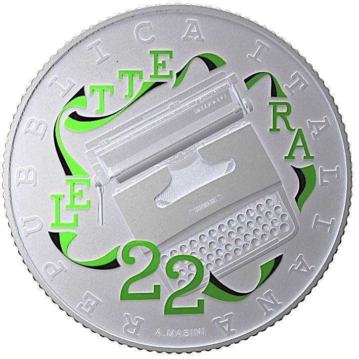 (EUR10.ComBU&BE.2020.48-2MS10-20F005) 5 euro Italy 2020 Ag BU - Olivetti Lettera 22 (green) Obverse (zoom)