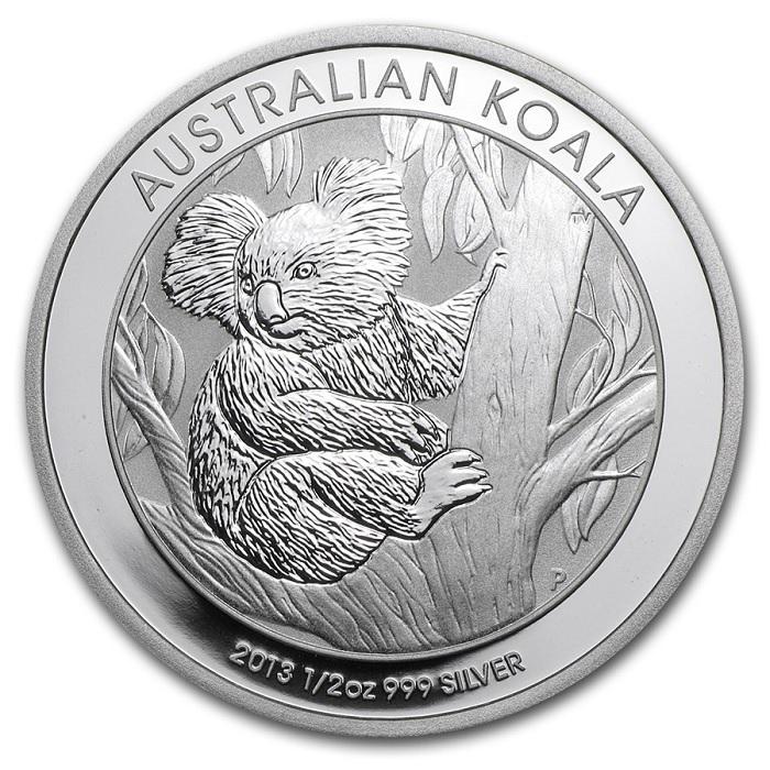 (W017.050.2013.0,5.oz.Ag.1) 50 Cents Australia 2013 0.5 oz BU Ag - Australian Koala Reverse (zoom)