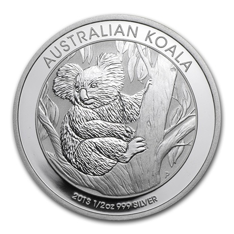 (W017.050.2013.0,5.oz.Ag.1) 50 cents Australie 2013 0,5 once argent - Koala Revers