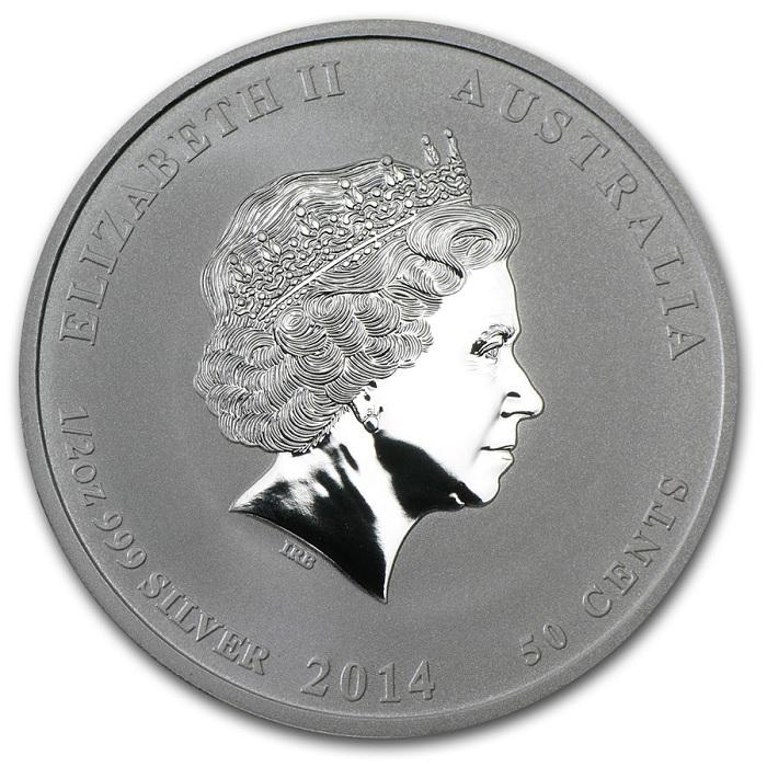(W017.050.2014.0,5.oz.Ag.1) 50 Cents Australia 2014 0.5 oz BU Ag - Year of the Horse Obverse (zoom)