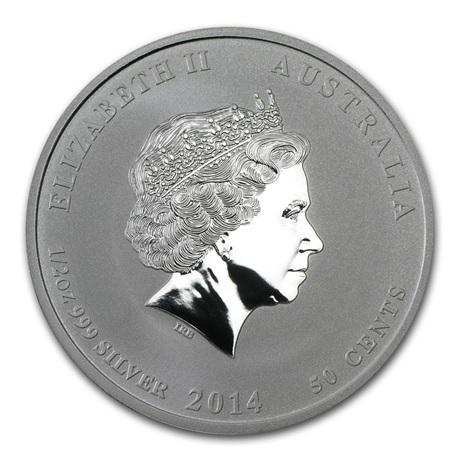 (W017.050.2014.0,5.oz.Ag.1) 50 cents Australie 2014 0,5 once argent BU - Année du Cheval Avers