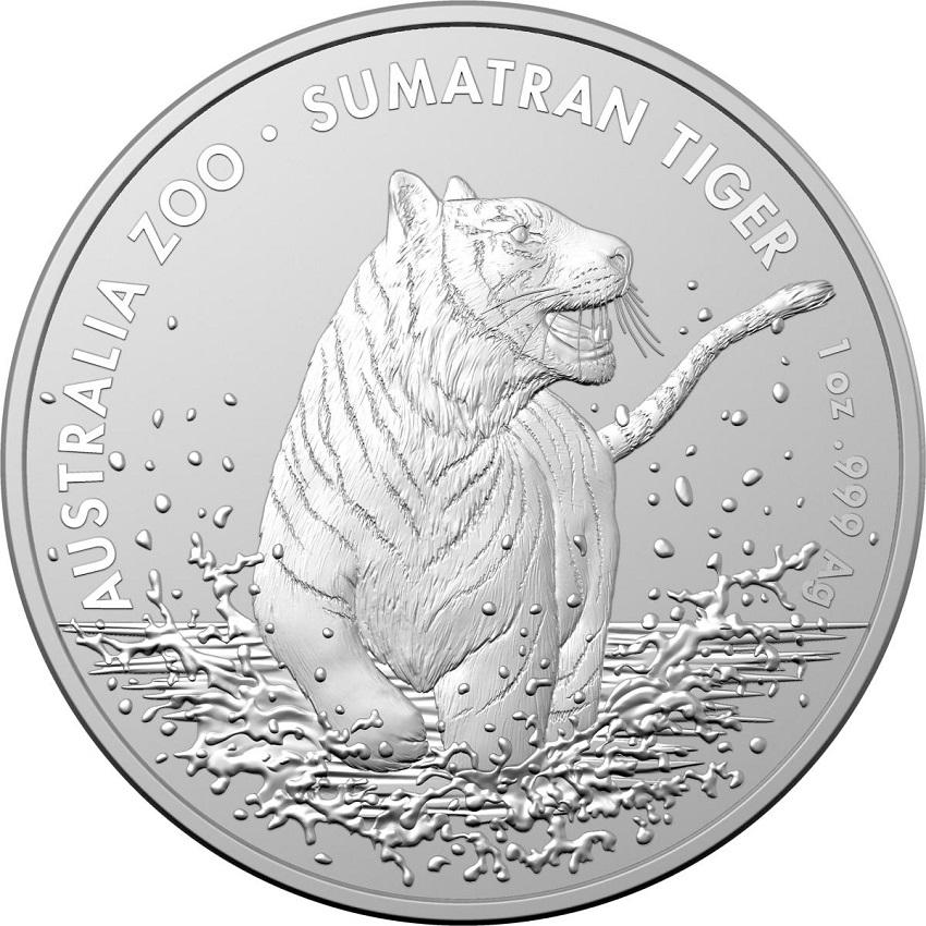 (W017.100.2020.1.ag.bullco.5) 1 Dollar Australia 2020 1 oz silver - Sumatran tiger Reverse (zoom)