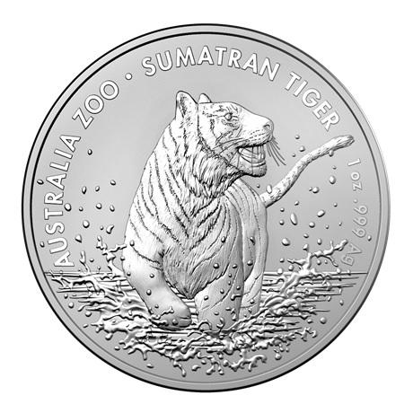 (W017.100.2020.1.ag.bullco.5) 1 Dollar Australie 2020 1 once argent - Tigre de Sumatra Revers