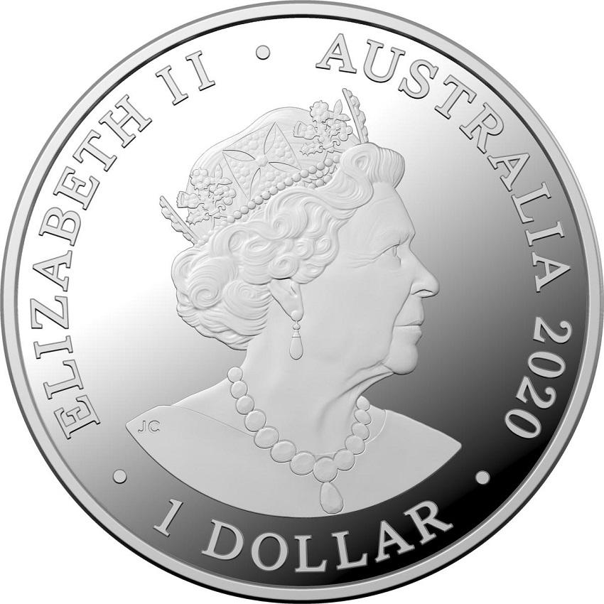 (W017.100.2020.1.ag.bullco.6) 1 Dollar Australia 2020 1 oz silver - Spinner dolphin Obverse (zoom)