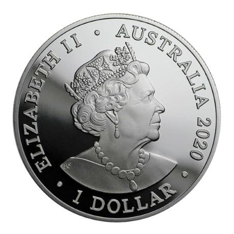 (W017.100.2020.1.ag.bullco.6) 1 Dollar Australie 2020 1 once argent - Dauphin à long bec Avers