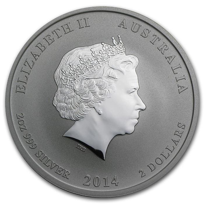 (W017.200.2014.2.oz.Ag.1) 2 Dollars Australia 2014 2 oz BU Ag - Year of the Horse Obverse (zoom)