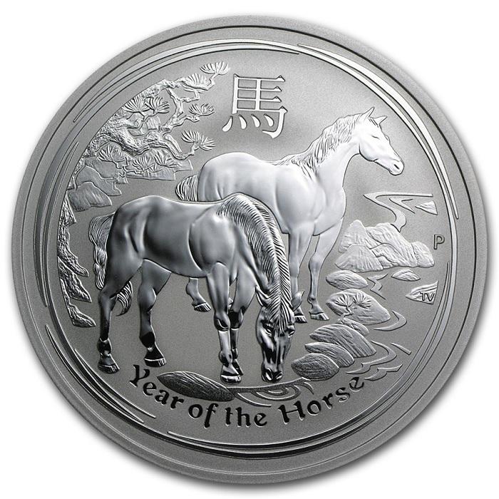 (W017.200.2014.2.oz.Ag.1) 2 Dollars Australia 2014 2 oz BU Ag - Year of the Horse Reverse (zoom)