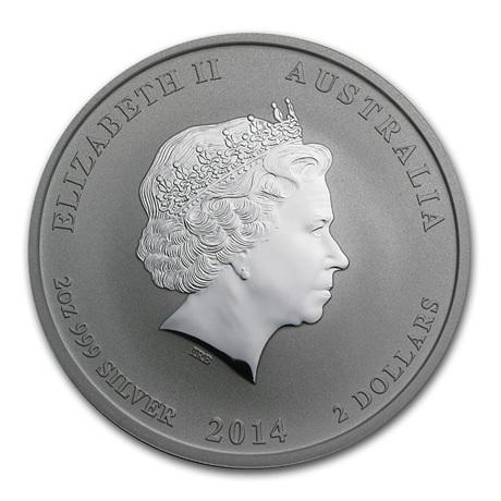 (W017.200.2014.2.oz.Ag.1) 2 Dollars Australie 2014 2 onces argent BU - Année du Cheval Avers